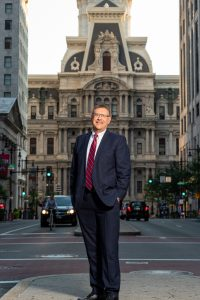 Attorney Rand Spear in front of Philadelphia City Hall
