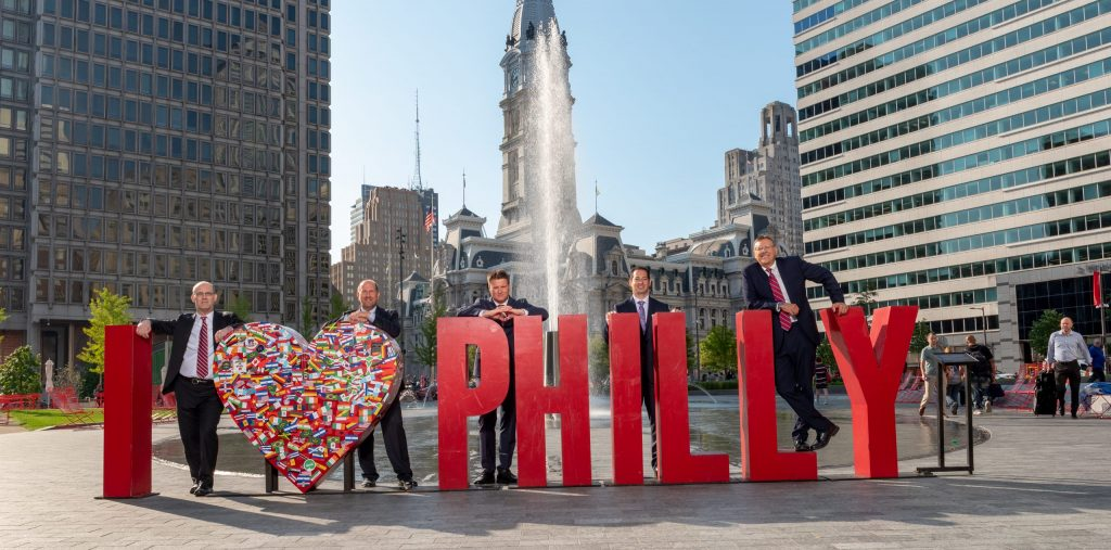 Spear Greenfield attorneys with I Love Philly sign